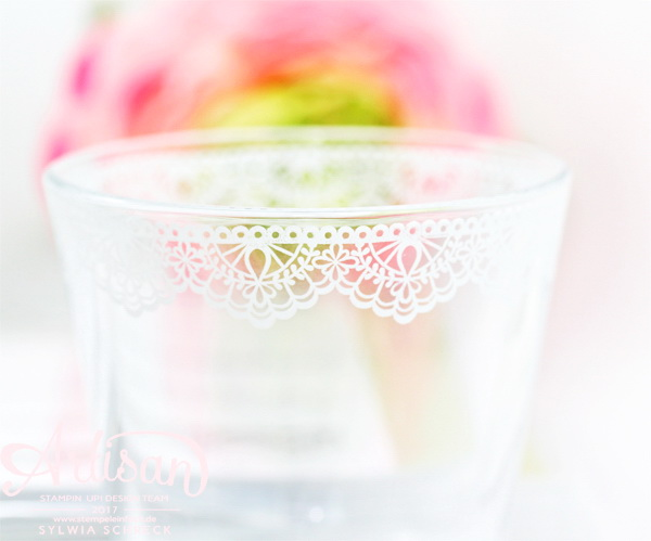 Teelicht Glas mit Delicate Details von Stampin Up