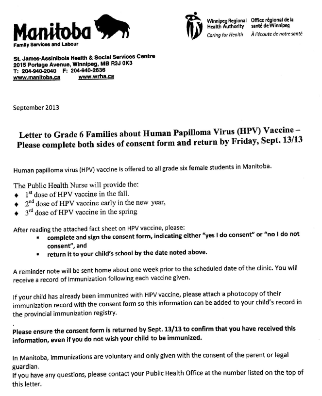 GWMS News : Human Papilloma Virus (HPV) Vaccine for grade ... Hpv Vaccine Schedule Form