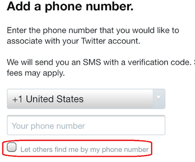 Uncheck the option to let others find me by my phone number.