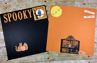 This spooky Halloween scrapbook page layout uses Stampin' Up!'s Graveyard Gate Bundle (with the Detailed Gate Thinlits), Spooky Cat Punch and Spooky Night Designer Paper, and the Pick a Pumpkin Bundle (with Patterned Pumpkins Thinlits).  We die cut Spooky with the Large Letters Thinlits.  I love how the cat punches out of the designer paper!!  Oh, and check out the Black Rhinestones!  #stampinup #stamptherapist www.stamptherapist.com