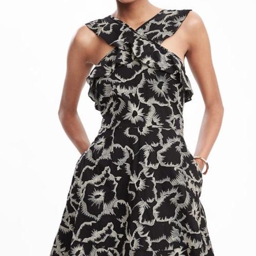 Banana Republic black and white floral print halter ruffle dress