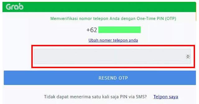 Memverifikasi nomor telepon untuk Grab