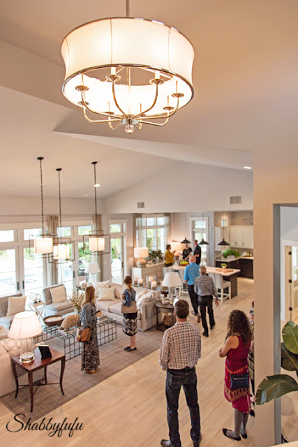 Second floor view of the HGTV Dream Home 2016 living and dining areas - this open floor plan makes this home look so spacious and inviting!