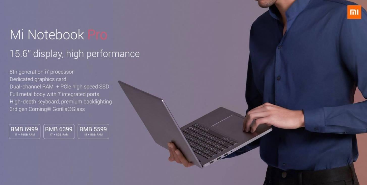 Xioami Mi Notebook Pro Key Specs