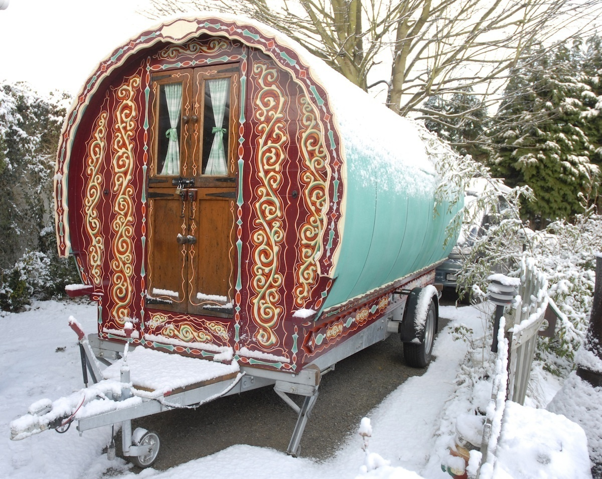 How enchanting do these caravans look in winter? - These Gypsy Caravans Are All Your Hippy-Dreams Come True, Especially The Inside.