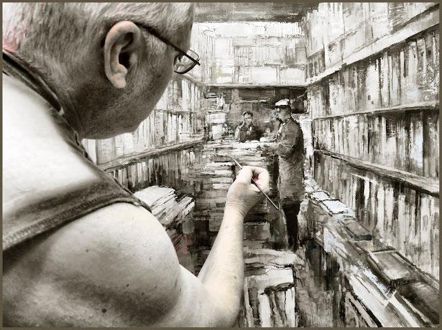 LIBRERIA-PINTURA-FOTOS-PINTANDO-LIBROS-TIENDAS-BIBLIOTECAS-CUADROS-ARTISTA-PINTOR-ERNEST DESCALS-