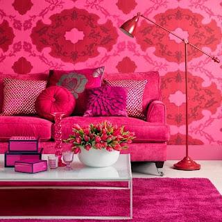 Decoración sala rosa