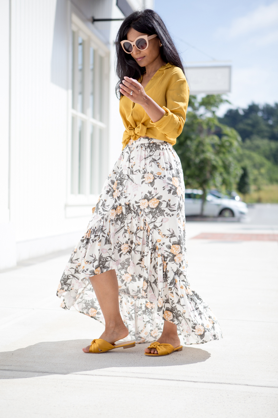 ruffles, tiered, maxi skirt, petite fashion, petite style, petite-friendly, petite maxi skirt, satin sliders, satin sandals, yellow, gold, affordable style, trendy, feminine style, colorful style, style tips, forever 21, sliders, summer chic