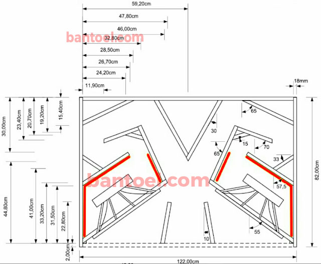 Contoh skema box speaker subwoofer 18'' lapangan suara jauh Rangkaian BH218