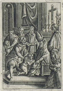 German wood cut depicting Confirmation service (1679, by G. C. Stich) - PD-1923