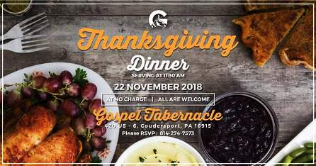 11-22 Thanksgiving Dinner, Coudersport Gospel Tabernacle