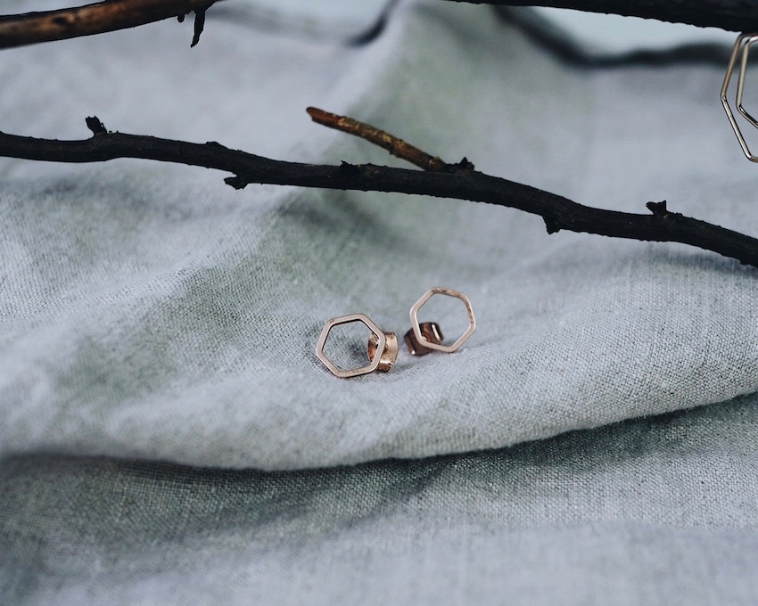 small geometric stud earrings in rose gold