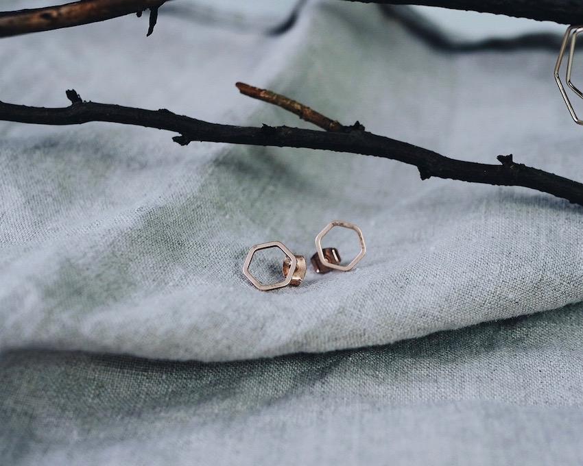 small geometric stud earrings in rose gold