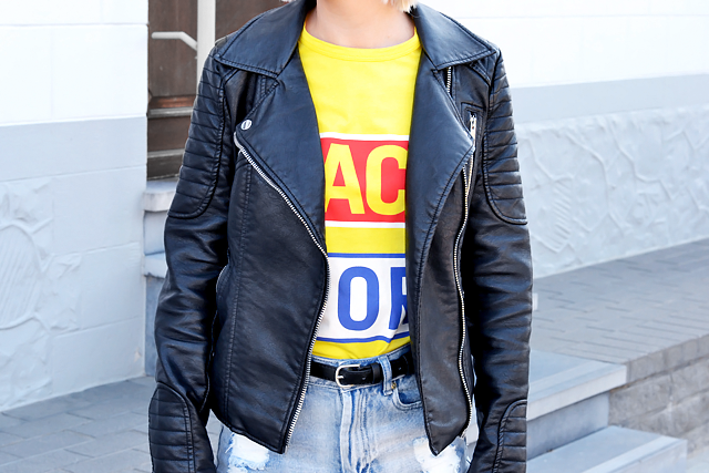Outfit post by belgian fashion blogger: Zara leather biker jacket, back for good, by ann sofie back, yellow t-shirt, high waist , jeans, denim shorts primark, zara chain boots, givenchy inspired, biker look, street style, summer 2015, trends, inspiration