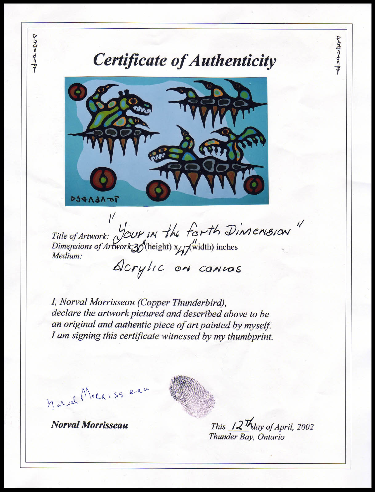 Norval morrisseau blog april 2015 for Certificate of authenticity autograph template