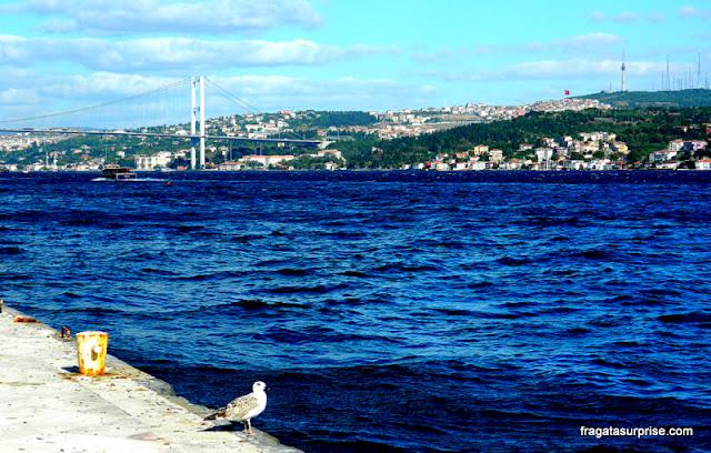 O Estreito de Bósforo visto do Palácio de Dolmabahçe, Istambul