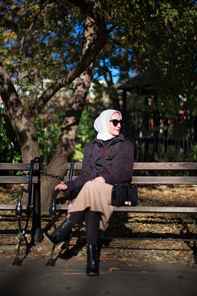 Plaid Coat-Camel Skirt-Winter Fashion-Hijabi Blogger