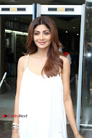 Bollywood Actress Shilpa Shetty Pos in White Gown at The Inauguration Of Shelar Make up Academy  0016.jpg
