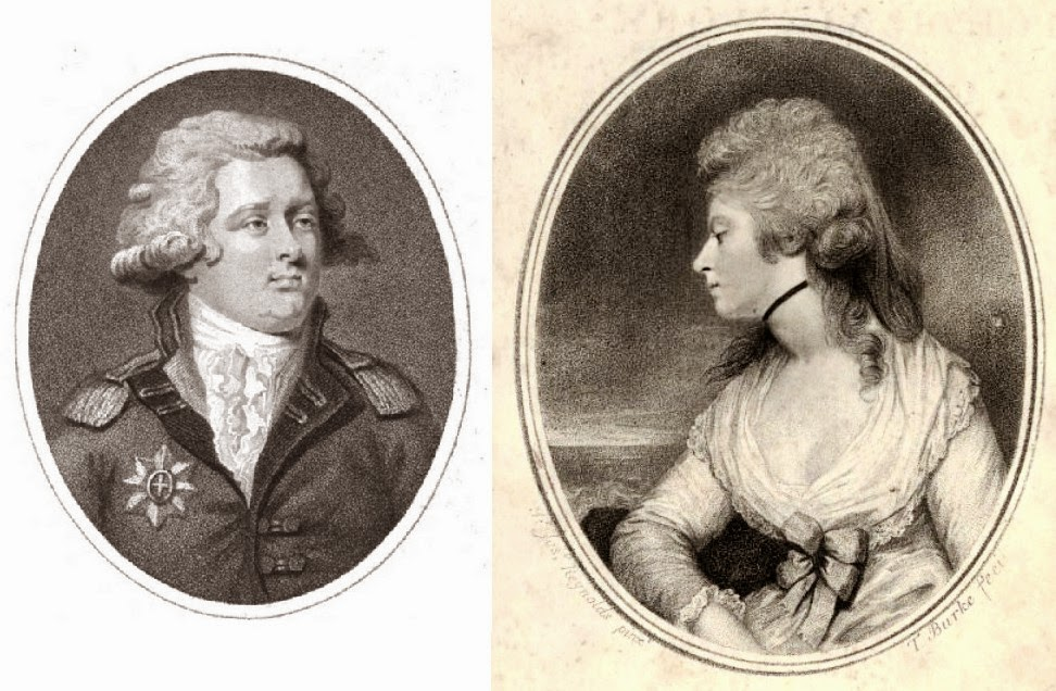 Left: Florizel - George, Prince of Wales from The Lady's Magazine (1792)  Right: Perdita - Mary Robinson from The Poetical Works of   the late Mrs Mary Robinson (1806)
