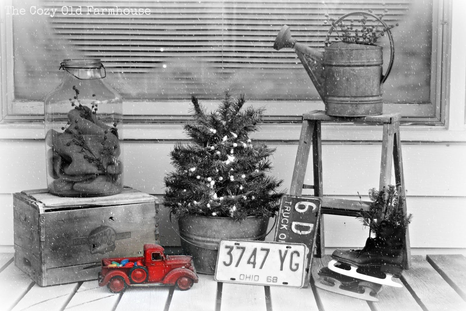 in the corner on the other side of the porch i made this display with part of my collection of soda crates - Decorating Crates For Christmas