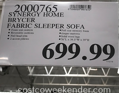 Deal for the Synergy Home Brycer Fabric Sleeper Sofa at Costco