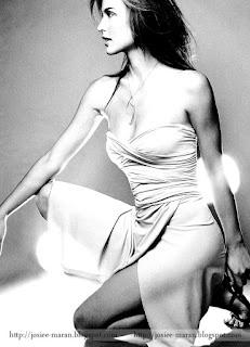 josie maran, model, actress, black and white, photo, leg show, side face, beautiful face image