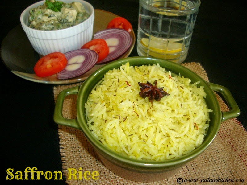 images for Saffron Rice Recipe / Kesar Rice Recipe / Kesar Chaval Recipe / Saffron Steamed Plain Basmati Rice Recipe