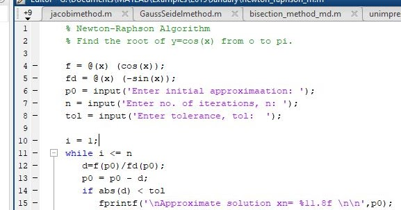 Newton-Raphson Method for Solving non-linear equations in MATLAB