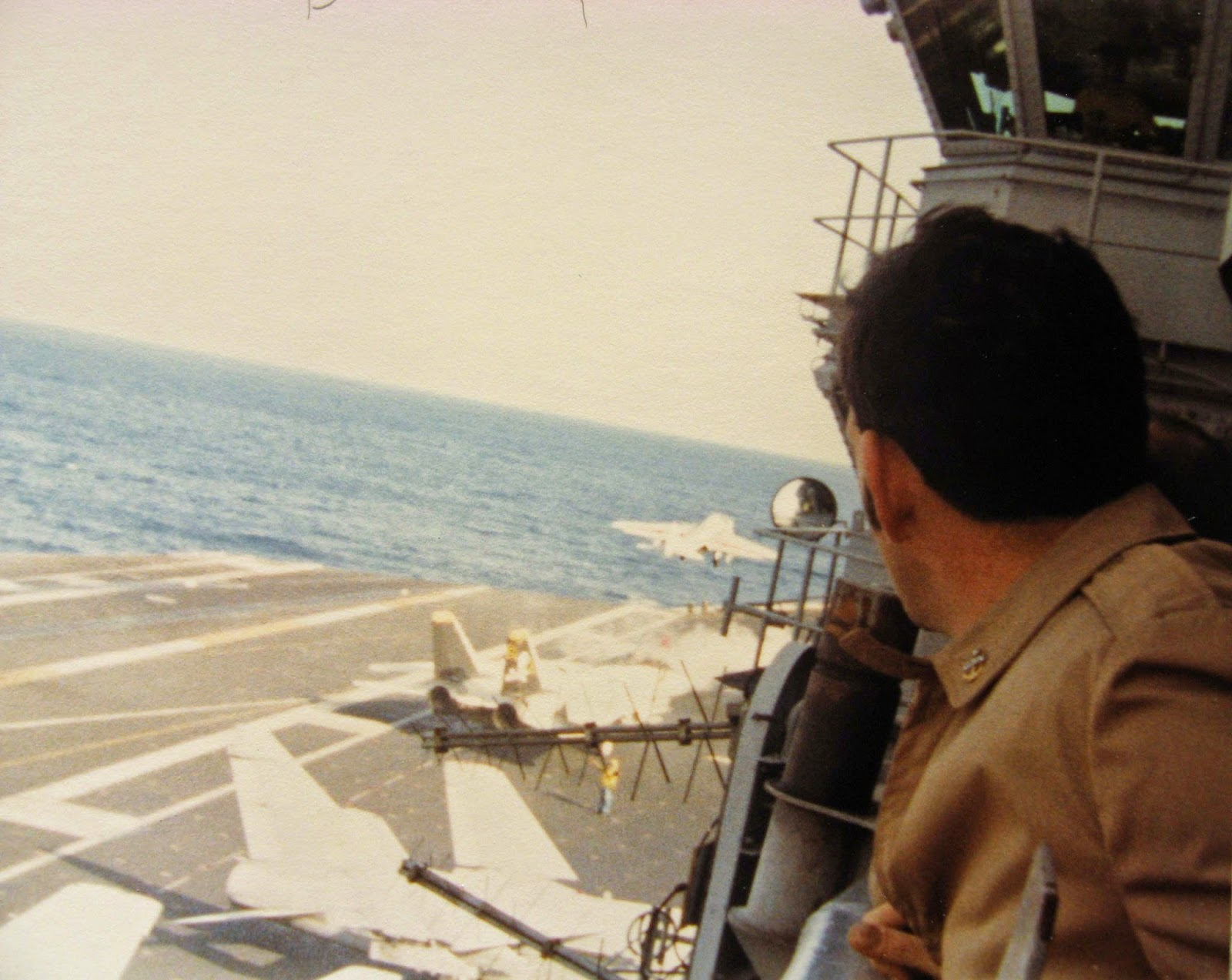 I snapped this from the Crow's Nest during flight ops January 1983