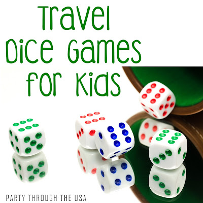 Travel Dice Games for Kids // Party Through the USA // free printable games using dice // great for kids // learning through play