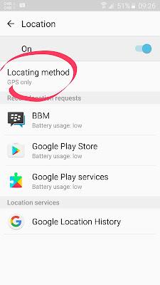 Pilih GPS only pada Lokasi Method