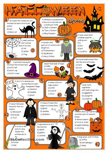 English Honori Garcia Halloween Quiz With Answers