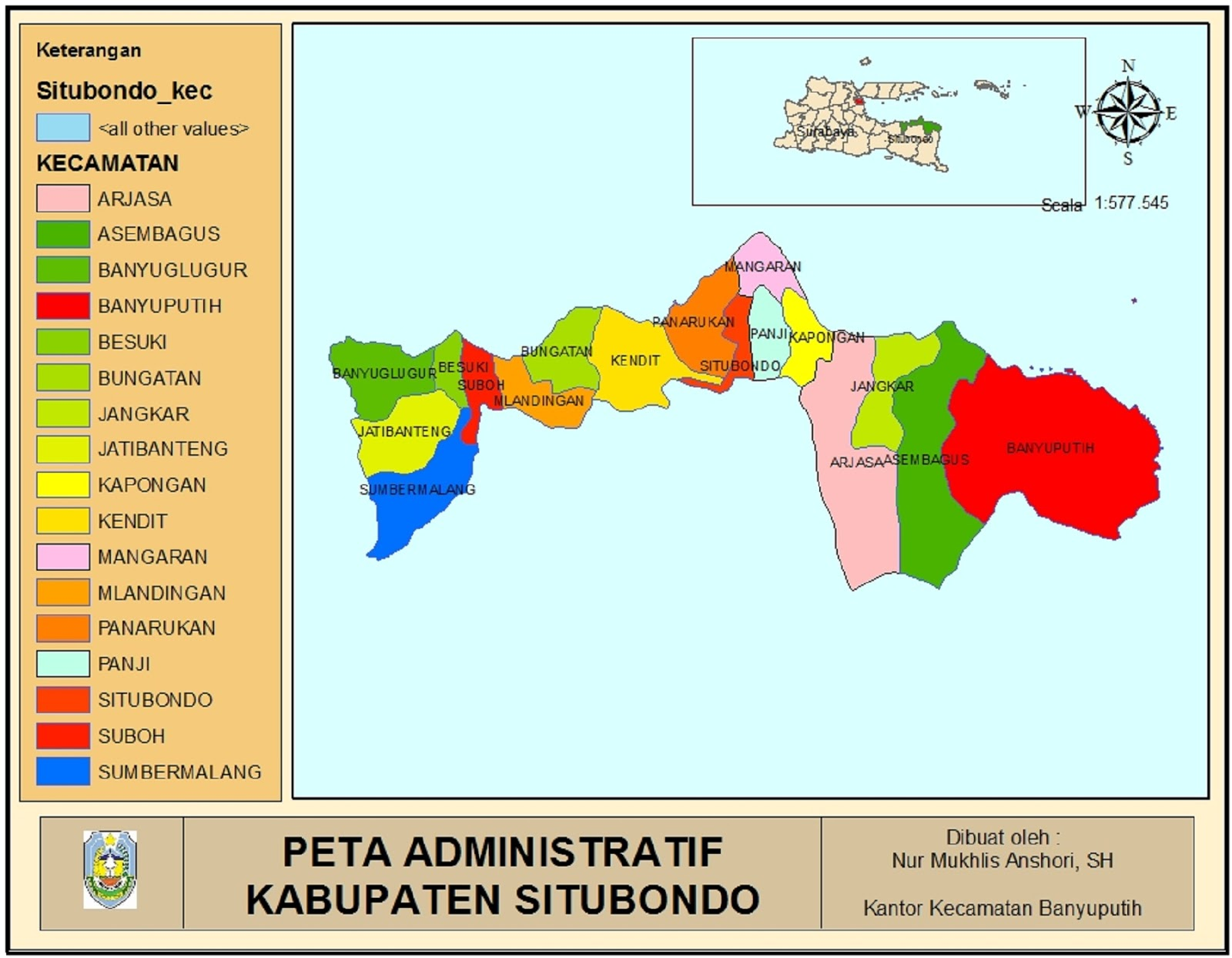 Peta Kabupaten Situbondo
