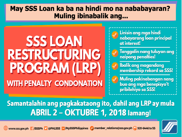 The Social Security System (SSS) has announced the new batch of loan condonation program or the loan restructuring program (LRP) whereas the members with delinquent status in paying their previous loan in a period of more than 6 months will be allowed to settle their accounts without paying any penalty. Overseas Filipino workers (OFWs) in the United Arab Emirates (UAE)who currently has current unpaid loans are urged to apply for the LRP until October 1.     Ads      Sponsored Links   SSS continues to encourage its members, including OFWs, to apply for loan restructuring program with penalty condonation especially OFWs who have short-term member loans including calamity, salary, educational, and emergency loans.  Under the program, members will no longer pay the additional penalties for the unsettled loans. Members only need to pay for the annual interest alongside the principal loan.  Payments can be done in whole or on a monthly basis as long as the payment terms will not exceed 5 years.  OFWs can apply for LRP in two ways: 1. If you are currently in the UAE, you can visit the SSS office located at the Philippine Consulate in Dubai and the Philippine Embassy in Abu Dhabi.  2. OFWs can also delegate their application to their authorized representative. Give them an authorization letter to process the application through the SSS office in the Philippines.    You can download the application form at the SSS official website.              Ads     Filed under the category of Social Security System , SSS, loan restructuring program, loan condonation program, Overseas Filipino workers, United Arab Emirates , loans