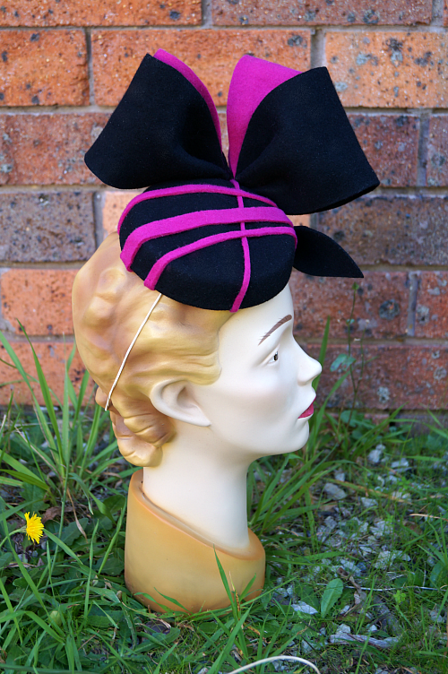 Pink and black felt pillbox hat