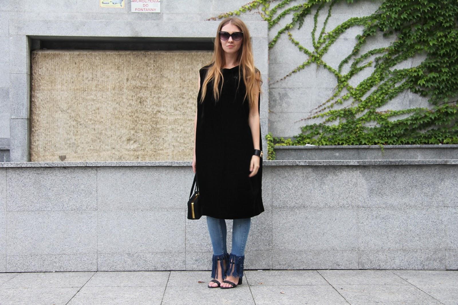 black dress over jeans