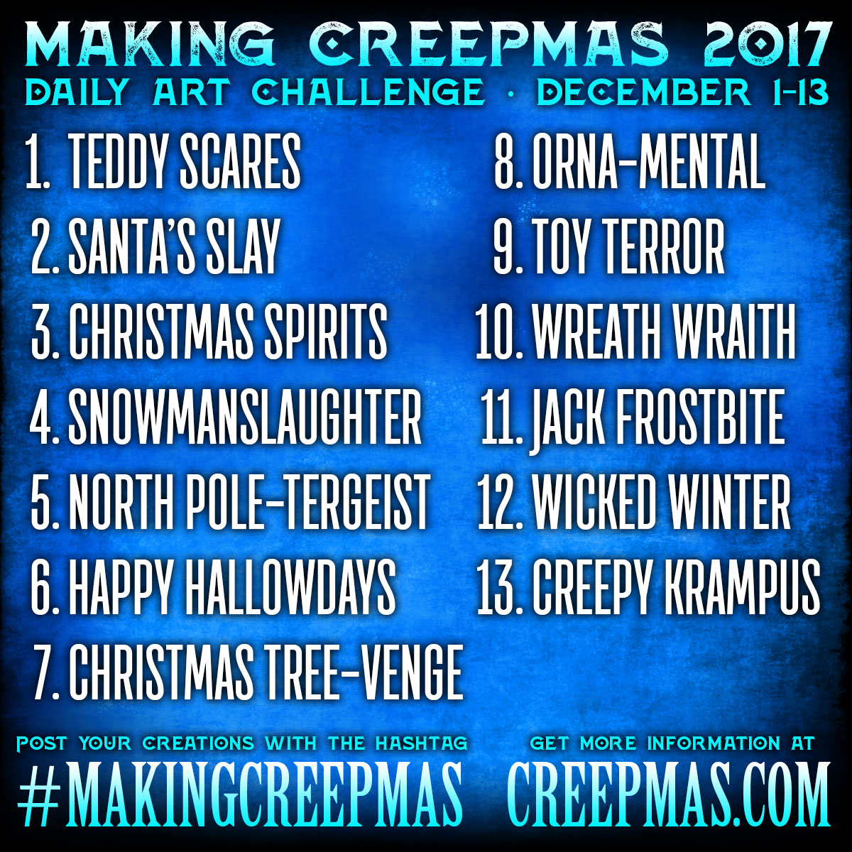 Making Creepmas 2017 Prompt List
