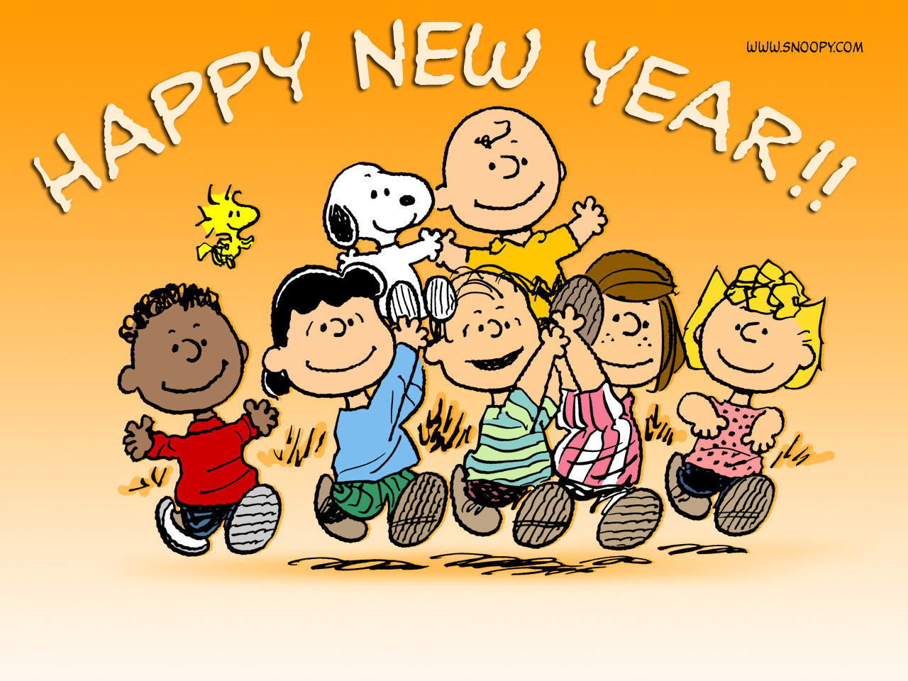 Happy New Year Charlie Brown.5 New Year Greeting Cards Samples 2014