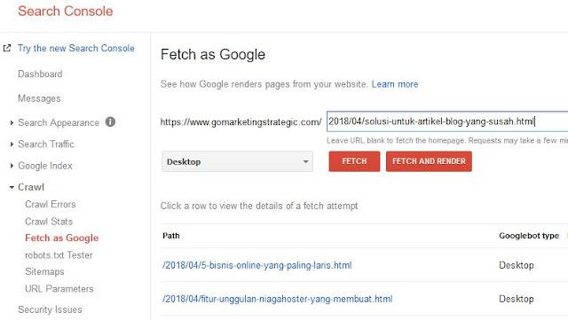 Cara menggunakan Google search consol atau Google webmaster tool