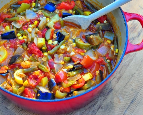 Summer Vegetable Stew, a soupy stew made with fresh vegetables, a great master recipe.