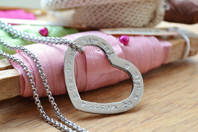 Personalised message silver heart necklace from Elmeray on Etsy