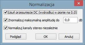 Funkcja normalizacji w Audacity