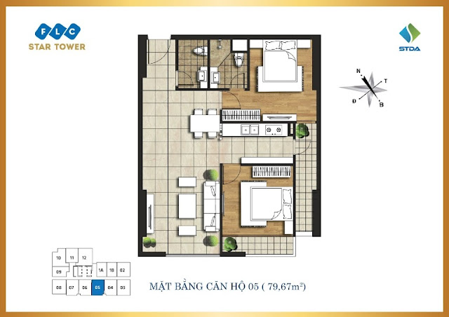 Mặt bằng căn 05 FLC Star Tower 418 Quang Trung