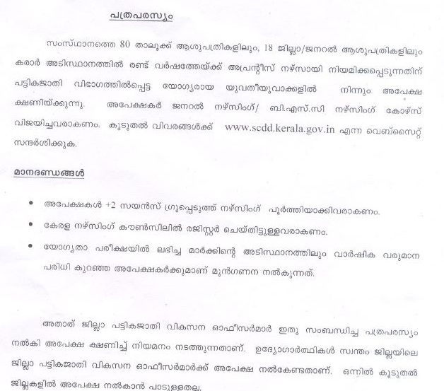 Kerala Government SC invites application for the post of