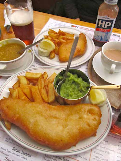 Lunch of Fish & and Chips Creamy Peas Hector's Saint Helier Jersey Channel Islands
