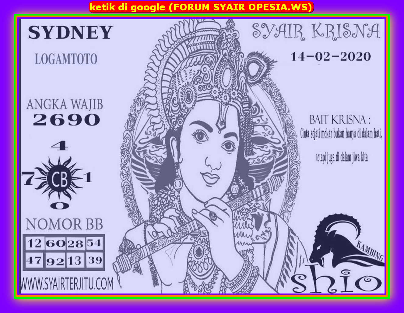 Kode syair Sydney Jumat 14 Februari 2020 74
