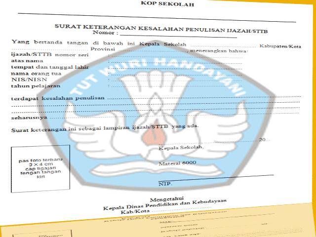 Download Contoh Surat Administrasi Pengganti Ijazah Rusak|Hilang|Salah Salah Dalam Penulisan