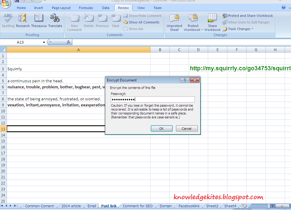 Set password for encrypt excel doc