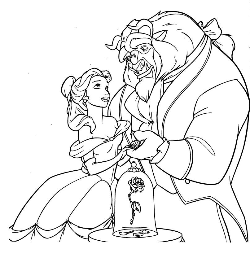 Belle and the beast coloring pages ~ FUN & LEARN : Free worksheets for kid: Disney Princess ...