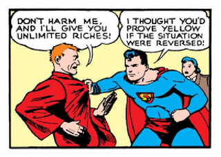Action Comics (1938) #23 Page 12 Panel 1: Superman threatens Luthor with his own death-ray, and Luthor naturally bargains for his life.